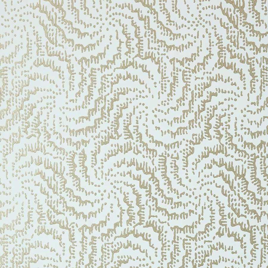 Anna French Watermark Cirrus AT7937 Metallic Pewter on Aqua Wallpaper