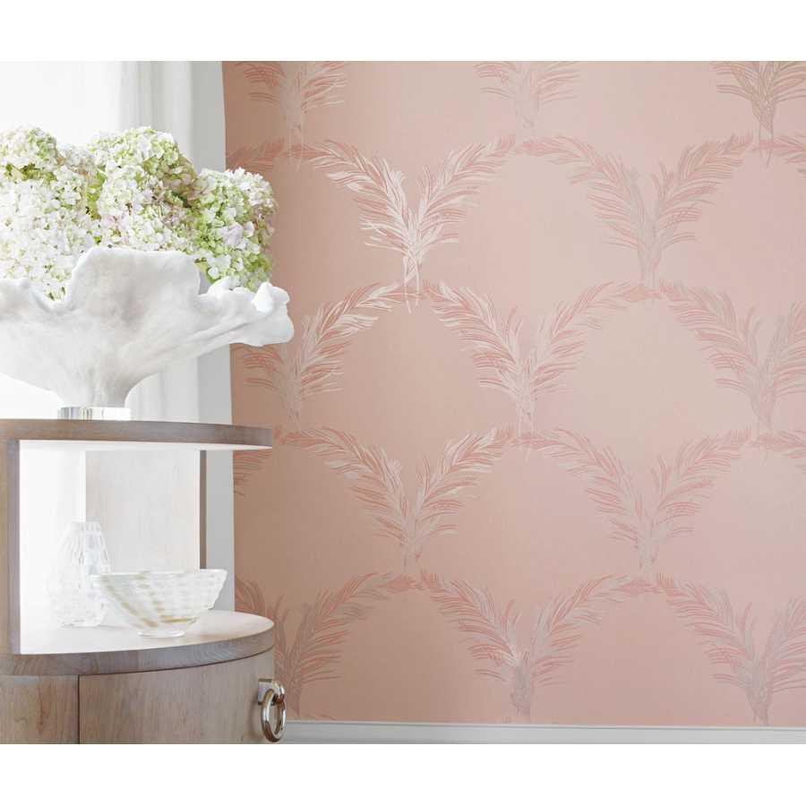 Anna French Watermark Plumes AT7924 Metallic on Blush Wallpaper