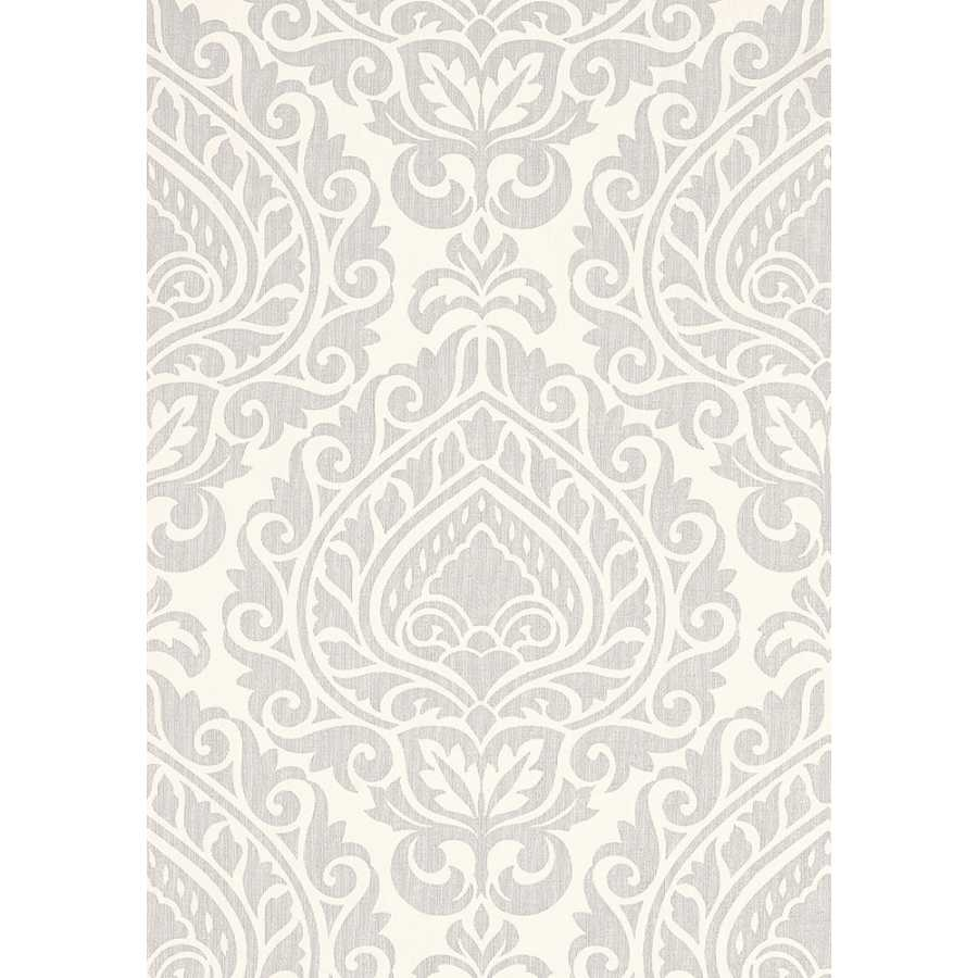 Anna French Zola Annette AT34105 Pearl on White Wallpaper