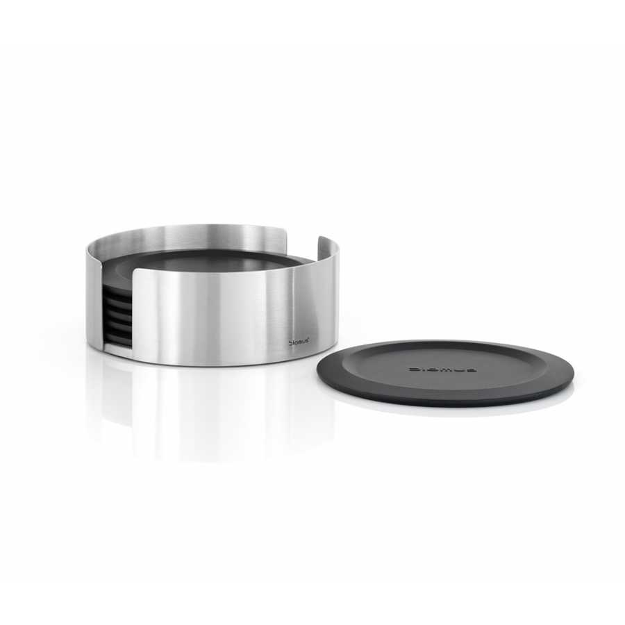 Blomus   LARETO Set Of 6 Round Coasters - Matt Stainless Steel & Durable Silicone