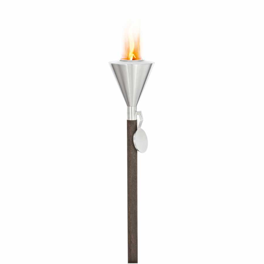 Blomus ORCHOS Gel Garden Torches - Stainless Steel and Wood