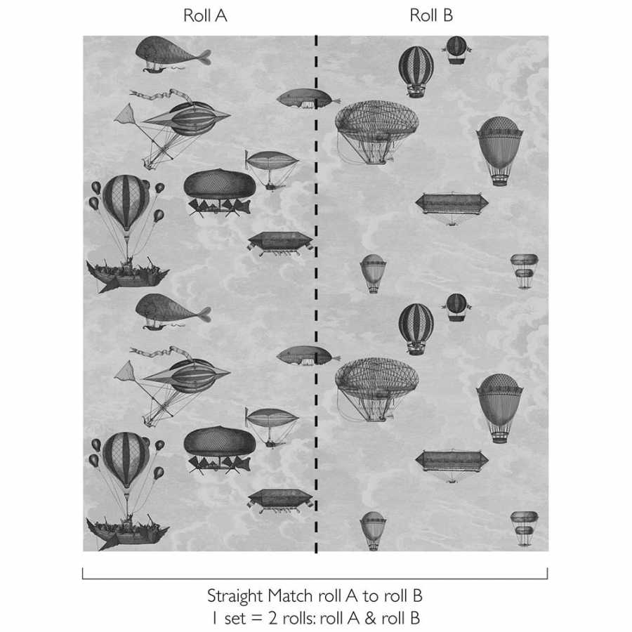 Cole & Son Fornasetti Macchine Volanti 114/10020 Wallpaper - Diagram