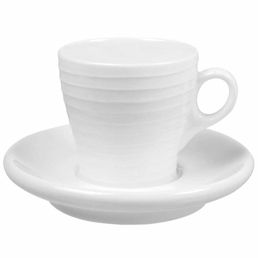 Design House Stockholm Blond Stripe Cups With Saucers - Espresso