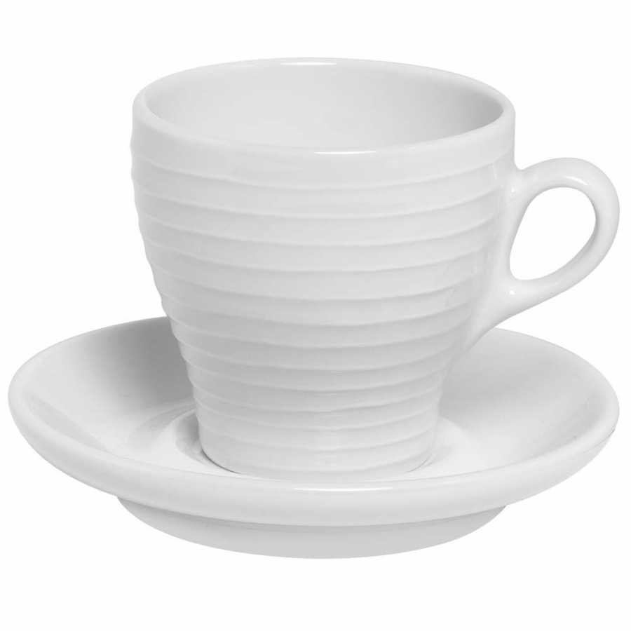Design House Stockholm Blond Stripe Cups With Saucers - Cappuccino