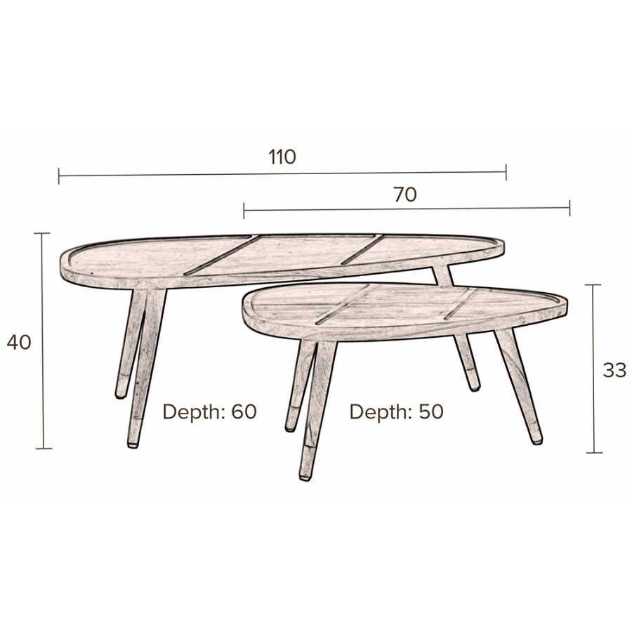Dutchbone Sham Coffee Tables - Sizes in cm