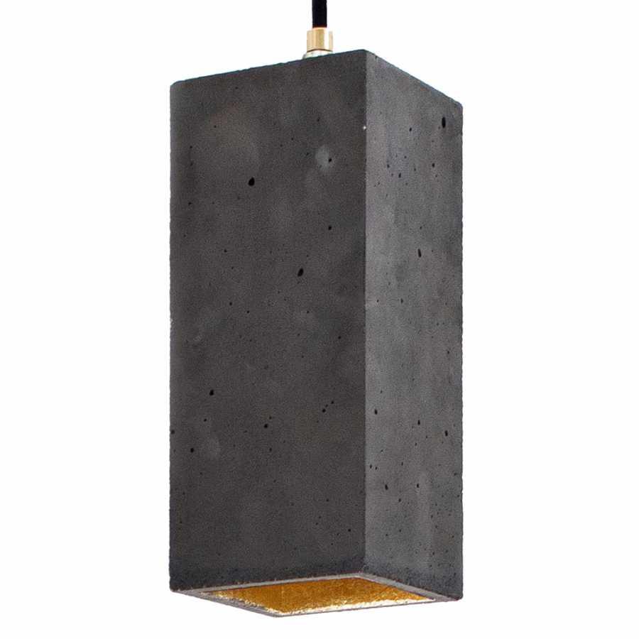 GANT Lights B2 Dark Grey Concrete Pendant Light - Gold