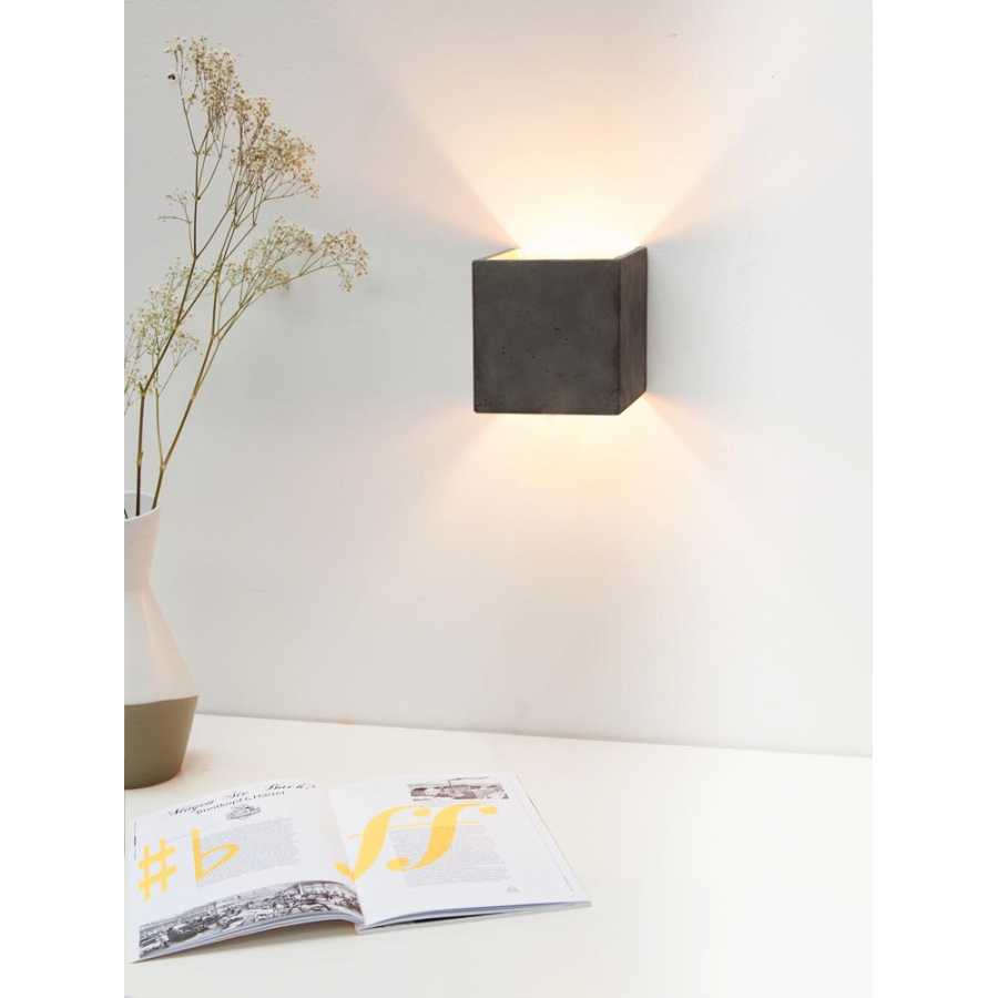 GANT Lights B3 Dark Grey Concrete Wall Light - Silver