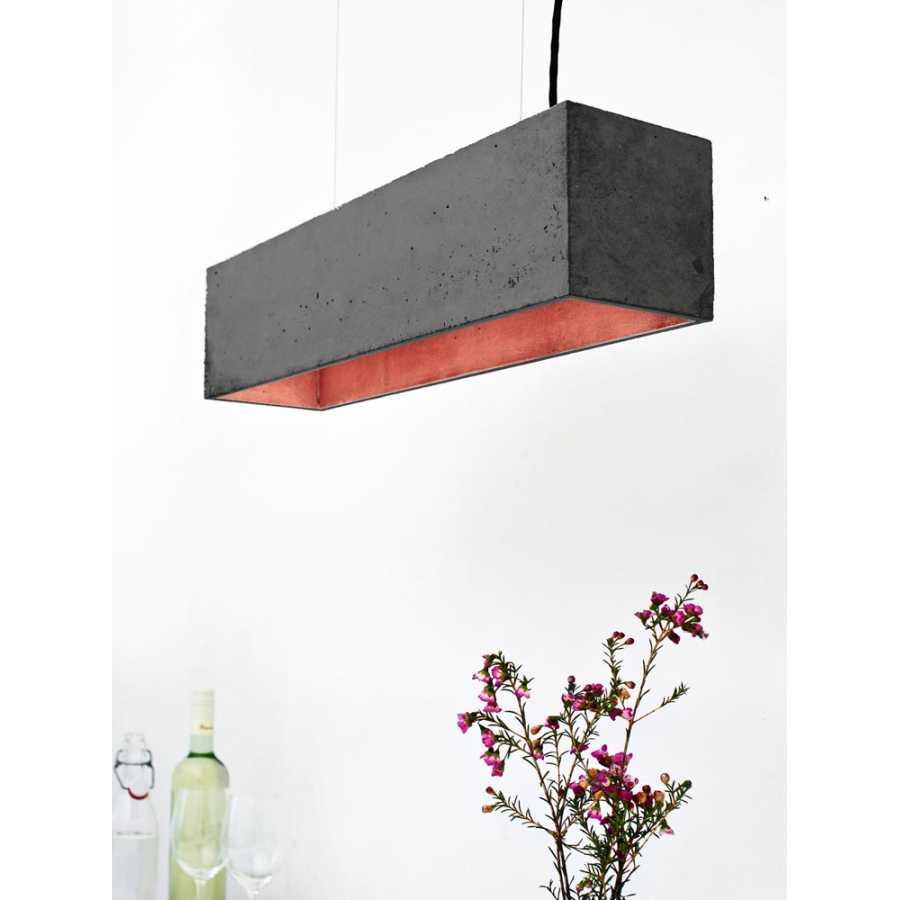 GANT Lights B4 Dark Grey Concrete Pendant Light - Copper
