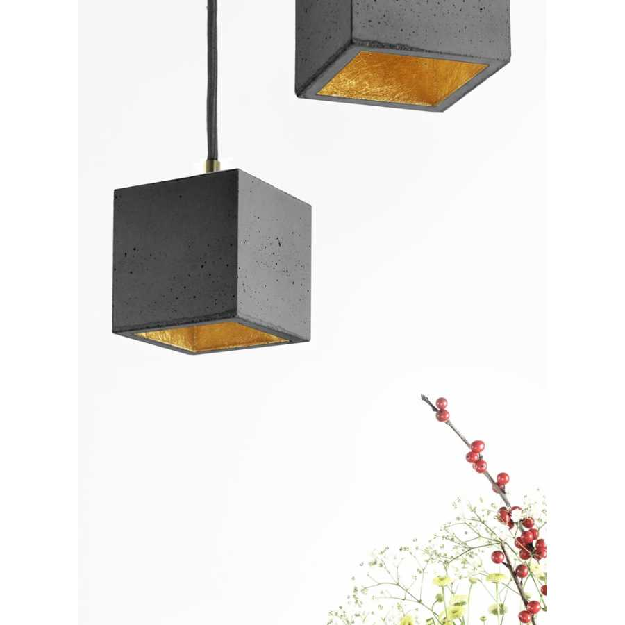 GANT Lights B6 Dark Grey Concrete Pendant Light - Gold