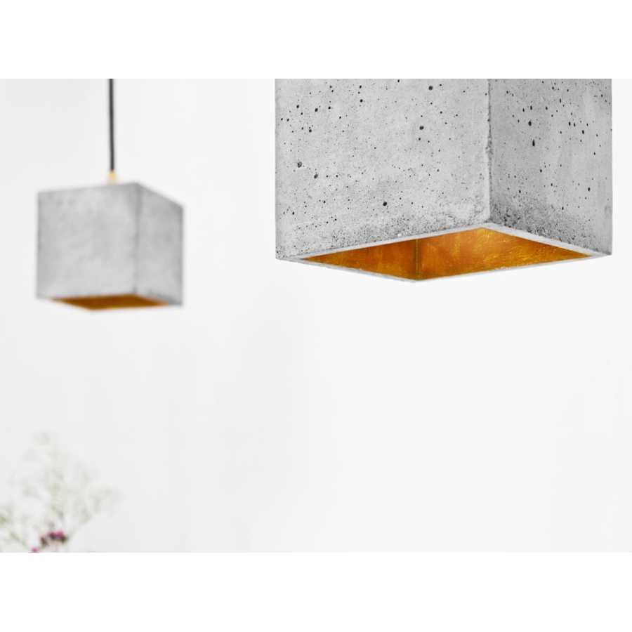 GANT Lights B1 Light Grey Concrete Pendant Light - Gold