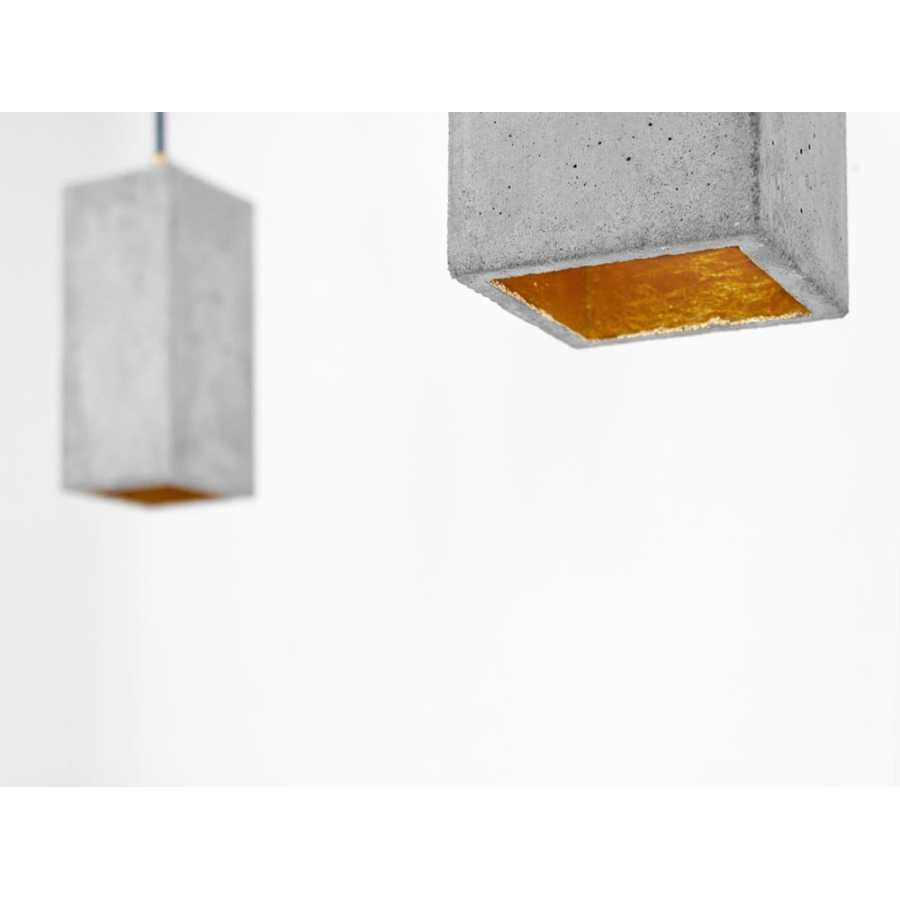 GANT Lights B2 Light Grey Concrete Pendant Light - Gold
