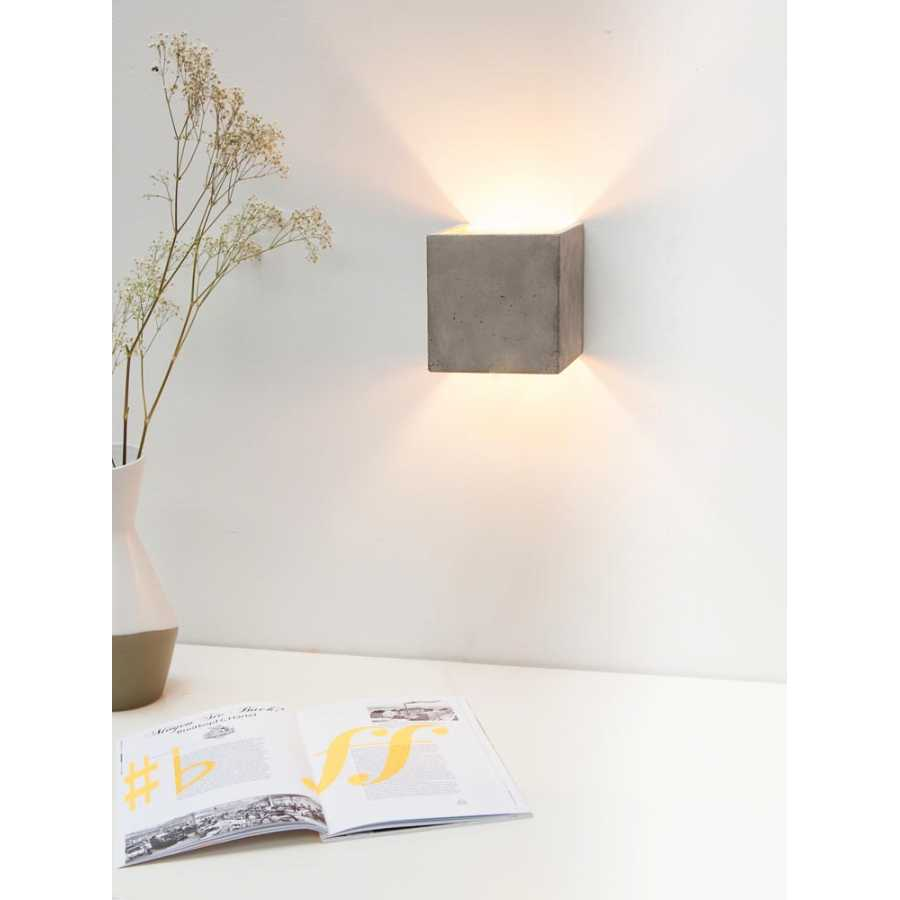 GANT Lights B3 Light Grey Concrete Wall Light - Silver