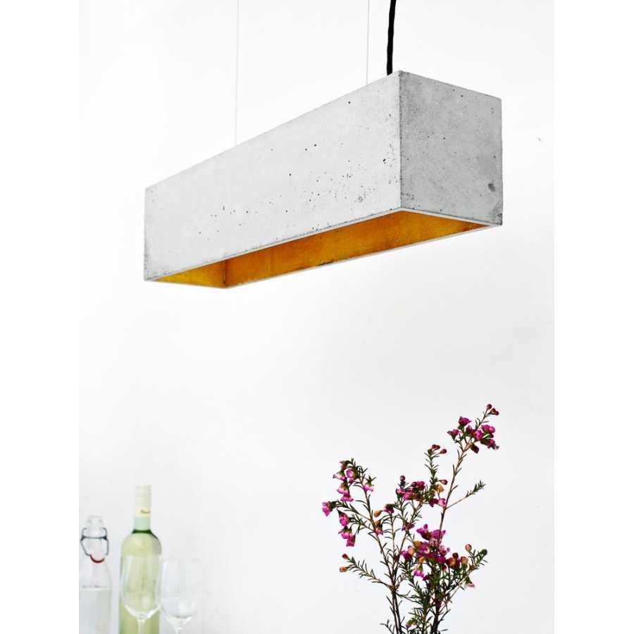 GANT Lights B4 Light Grey Concrete Pendant Light - Gold