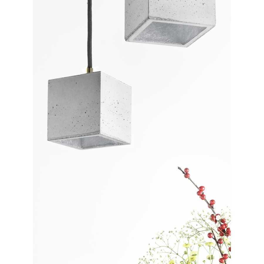 GANT Lights B6 Light Grey Concrete Pendant Light - Silver
