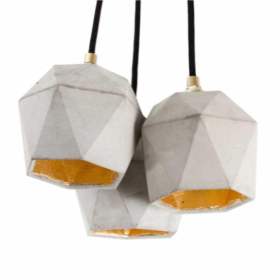 GANT Lights T2 Light Grey Concrete Bundle Pendant Light - Gold