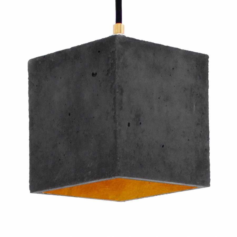 GANT Lights B1 Dark Grey Concrete Pendant Light - Gold