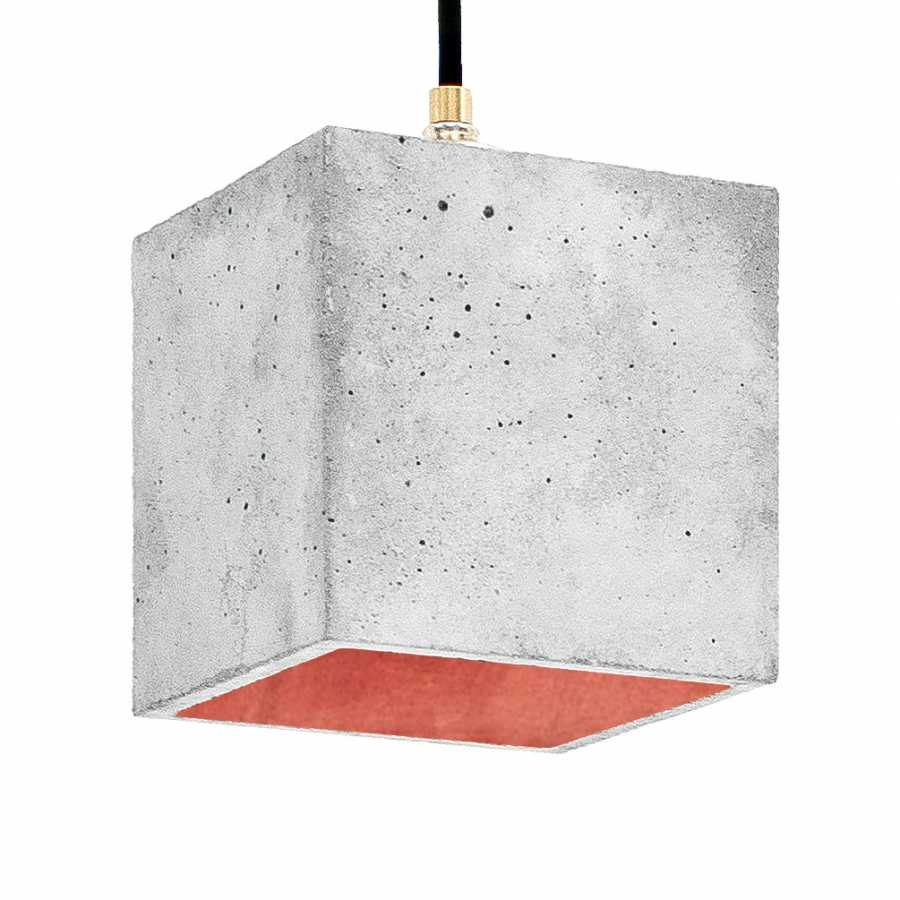 GANT Lights B1 Light Grey Concrete Pendant Light - Copper