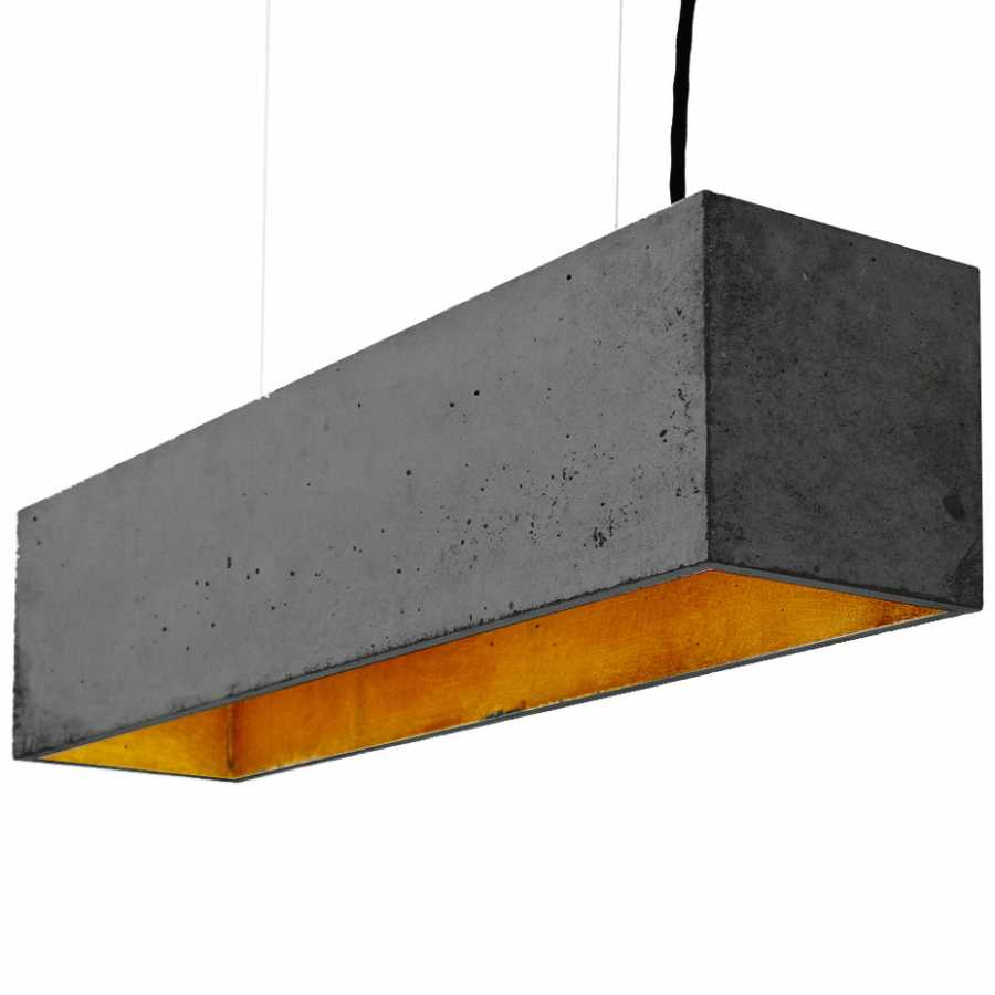 GANT Lights B4 Dark Grey Concrete Pendant Light - Gold