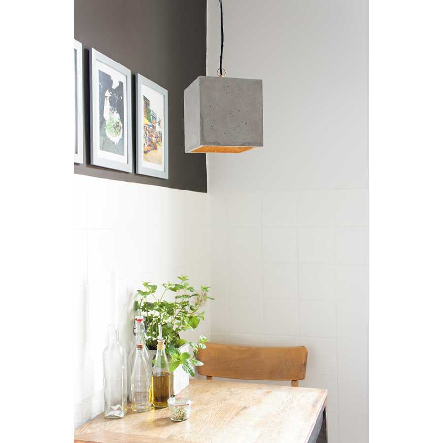 GANT Lights B5 Light Grey Concrete Pendant Light - Gold