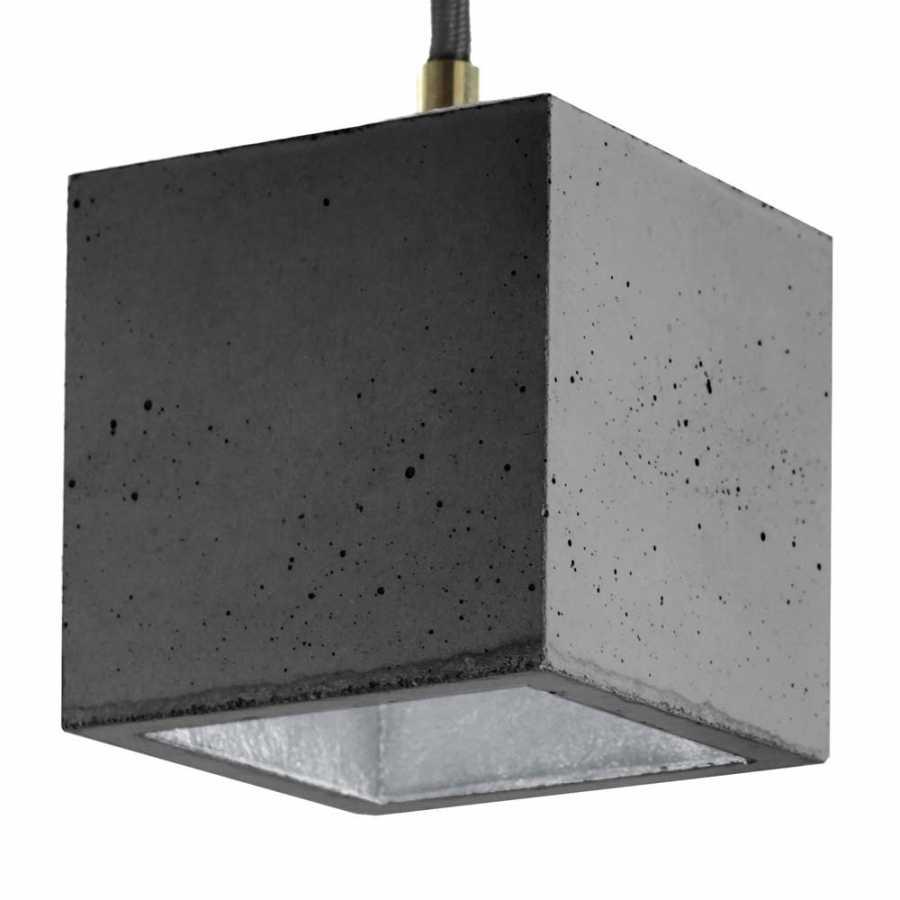 GANT Lights B6 Dark Grey Concrete Pendant Light - Silver