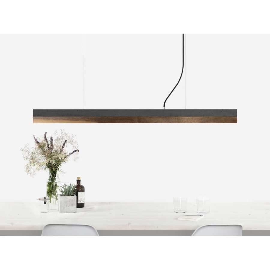 GANT Lights C1 Dark Grey Concrete Pendant Light - Walnut Wood