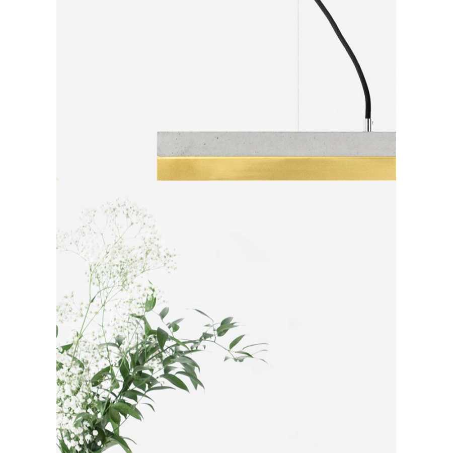 GANT Lights C2 Light Grey Concrete Pendant Light - Brass
