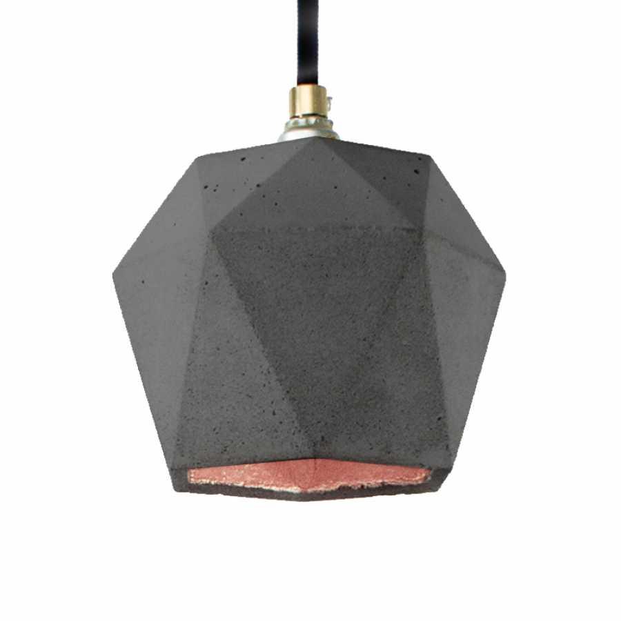 GANT Lights T2 Dark Grey Concrete Pendant Light - Copper