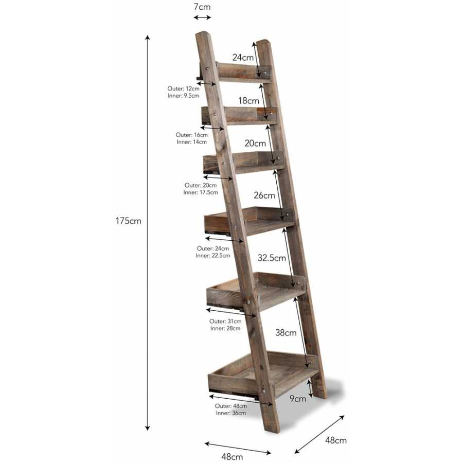 Garden Trading Aldsworth Shelf Ladder - Small - Diagram