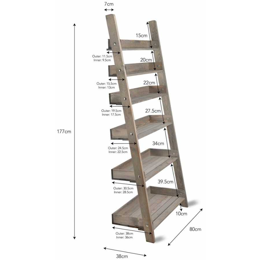 Garden Trading Aldsworth Shelf Ladder - Large - Diagram