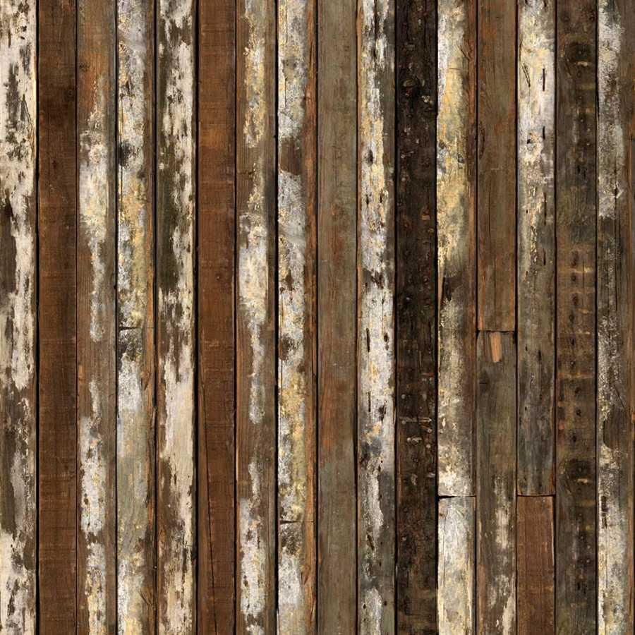 NLXL Scrapwood White / Brown Beams PHE-13 Wallpaper