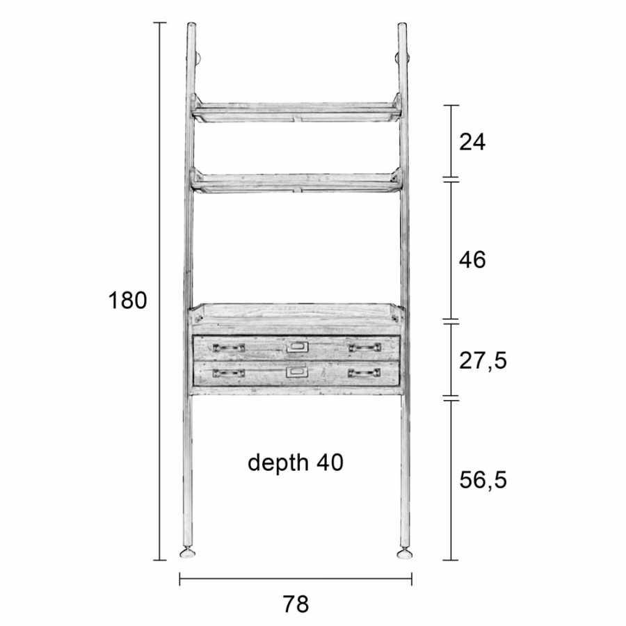 Naken Interiors Rook Wall Shelf - Diagram