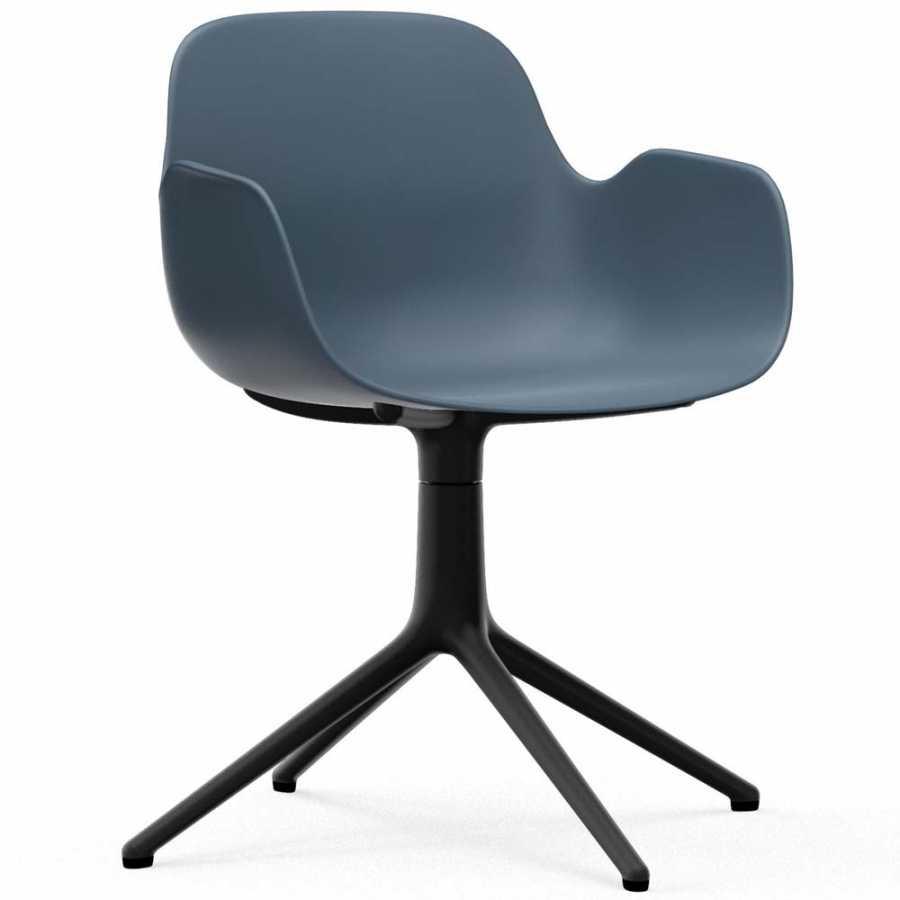 Normann Copenhagen Form Swivel Armchair - Black Aluminium - Blue