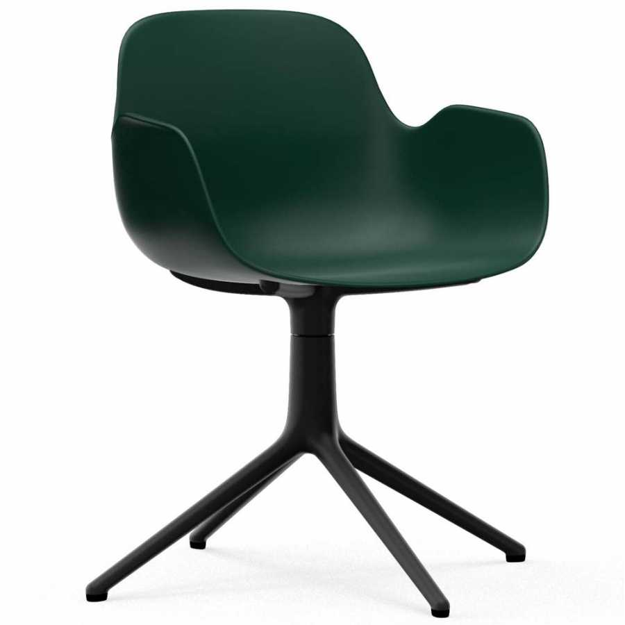 Normann Copenhagen Form Swivel Armchair - Black Aluminium - Green