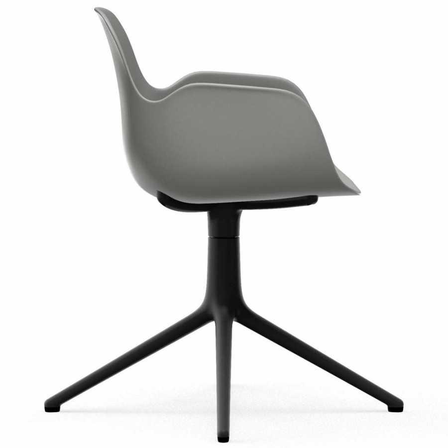 Normann Copenhagen Form Swivel Armchair - Black Aluminium - Grey