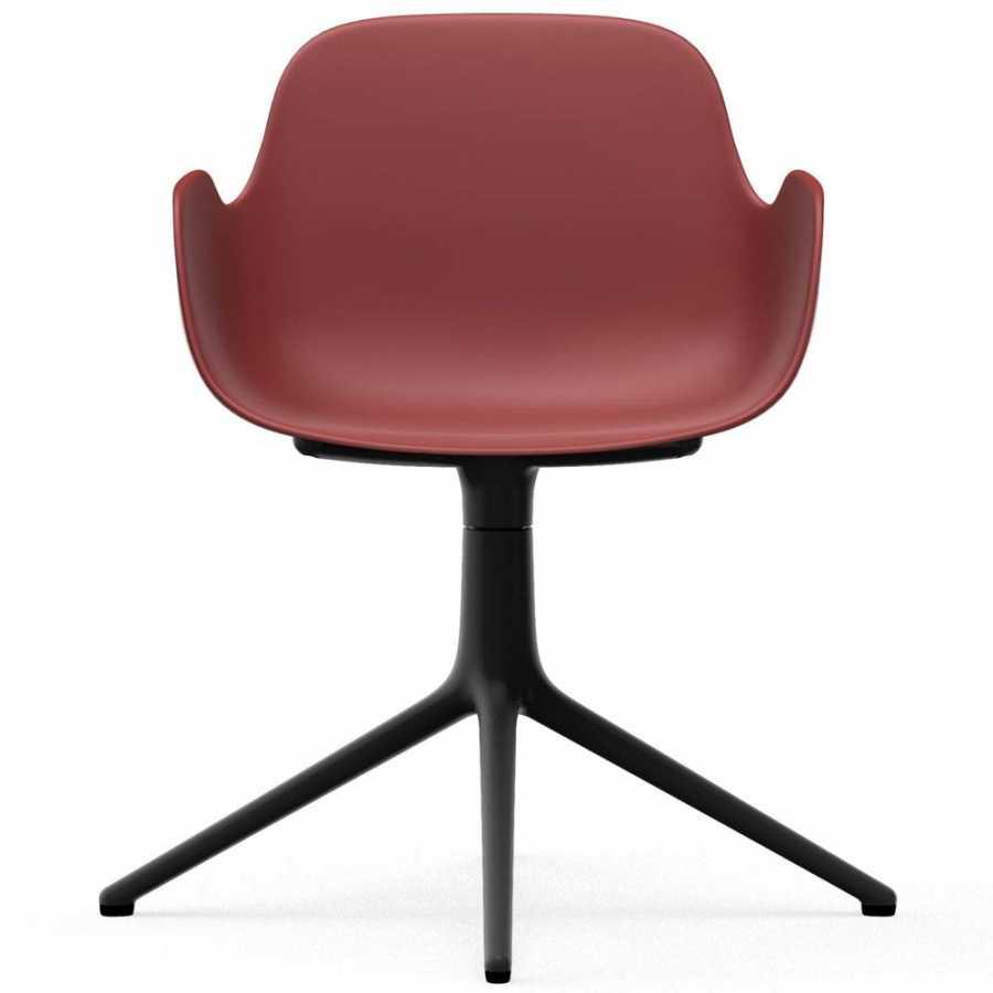 Normann Copenhagen Form Swivel Armchair - Black Aluminium - Red