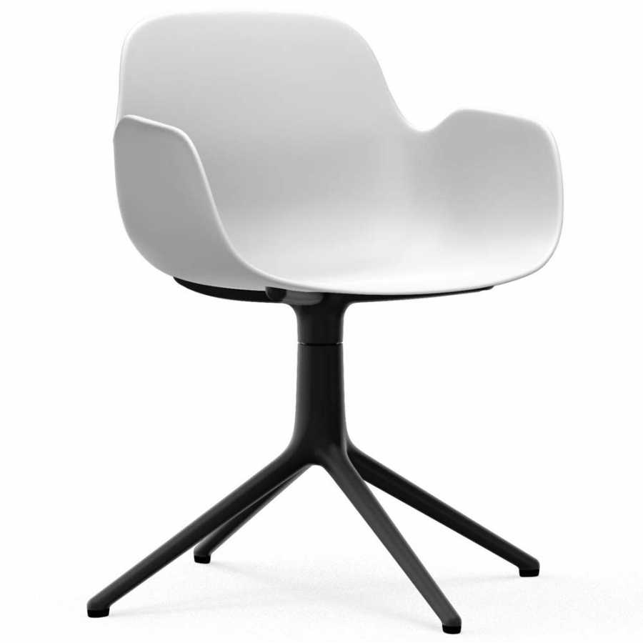 Normann Copenhagen Form Swivel Armchair - Black Aluminium - White