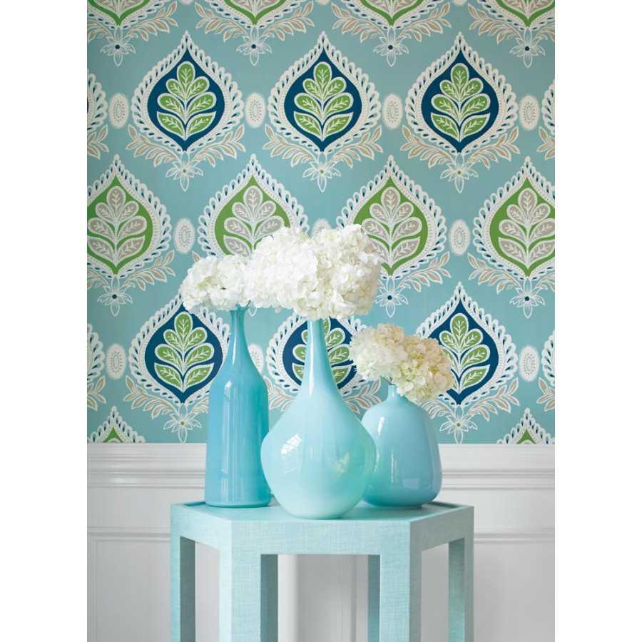 Thibaut Bridgehampton Midland T24316 Blue and Green Wallpaper