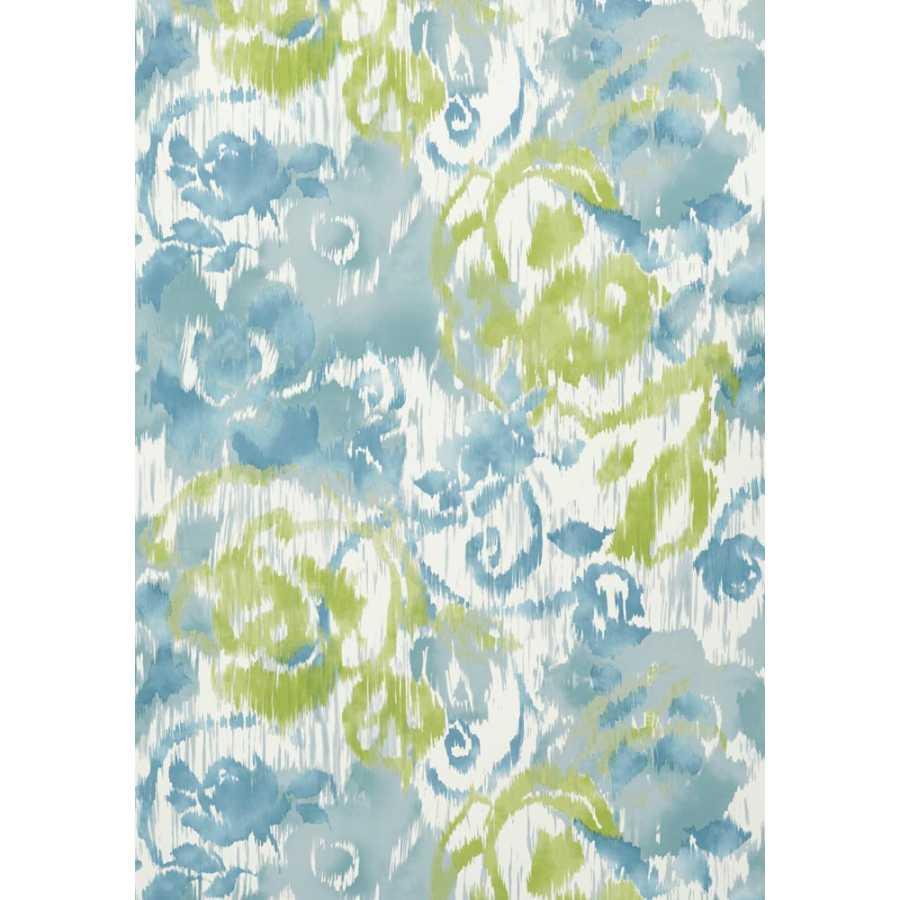 Thibaut Bridgehampton Waterford Floral T24342 Aqua and Green Wallpaper
