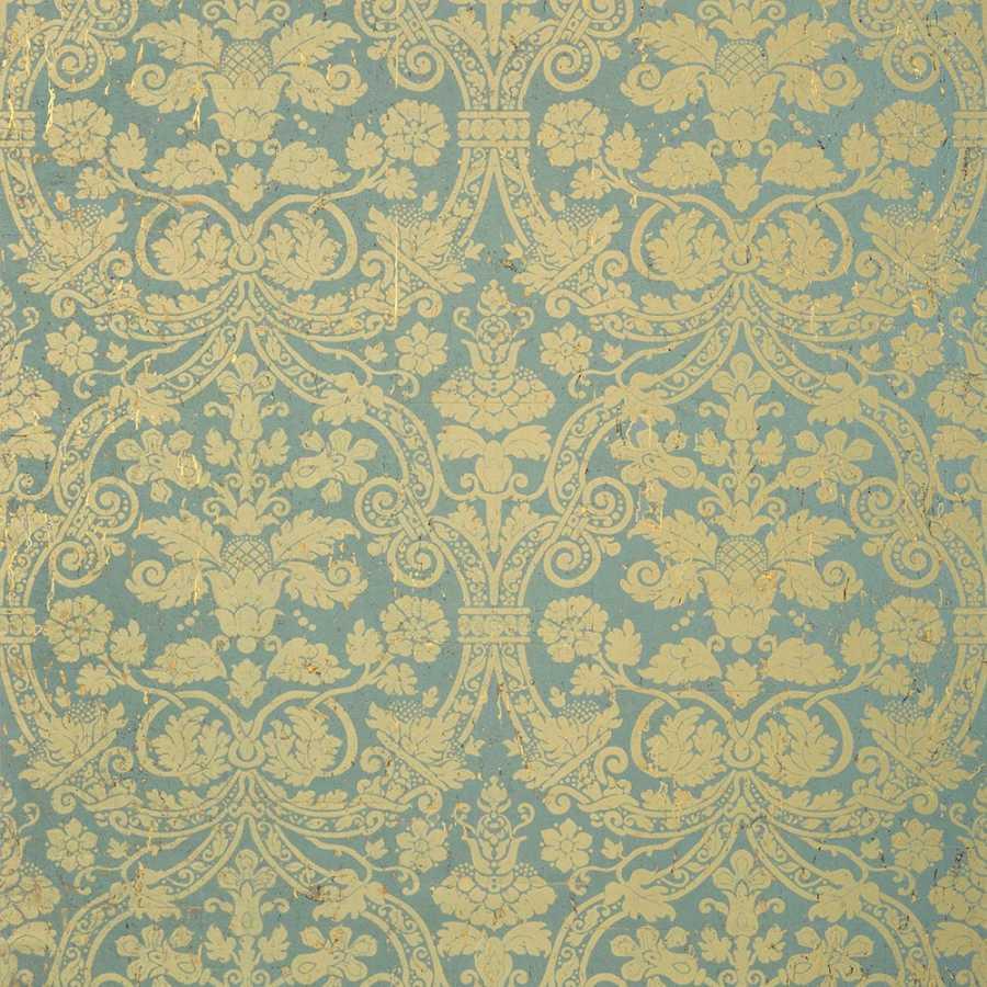 Thibaut Damask Resource 4 Curtis Damask T89115 Metallic Gold on Aqua Wallpaper
