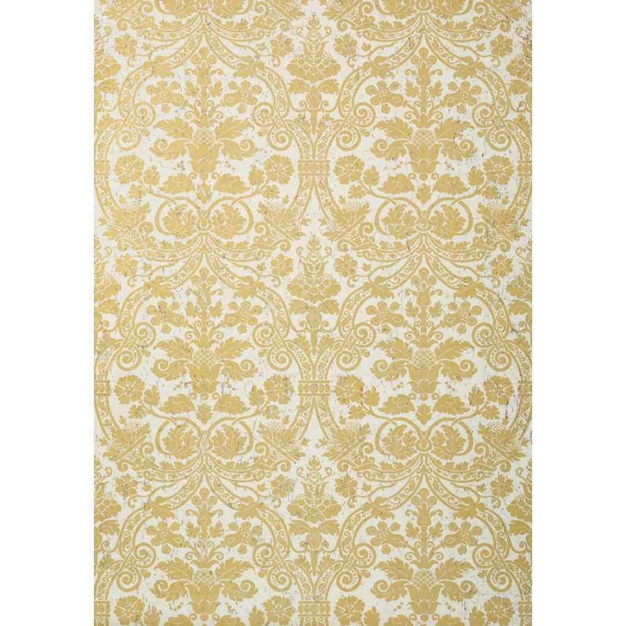 Thibaut Damask Resource 4 Curtis Damask T89116 Metallic Gold on White Wallpaper