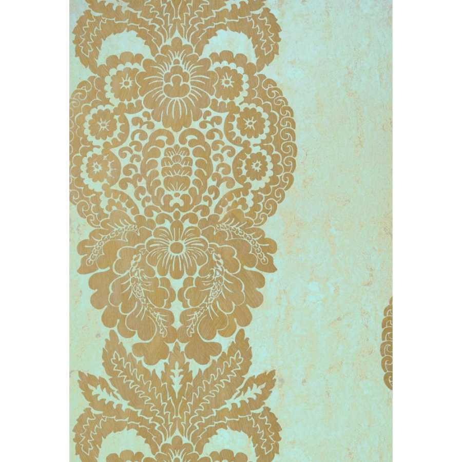 Thibaut Damask Resource 4 Rowan Damask T89130 Metallic Gold on Aqua Wallpaper