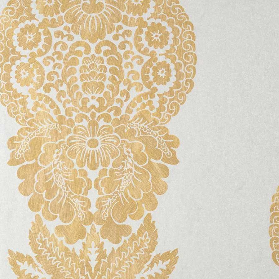 Thibaut Damask Resource 4 Rowan Damask T89131 Metallic Gold on Silver Wallpaper