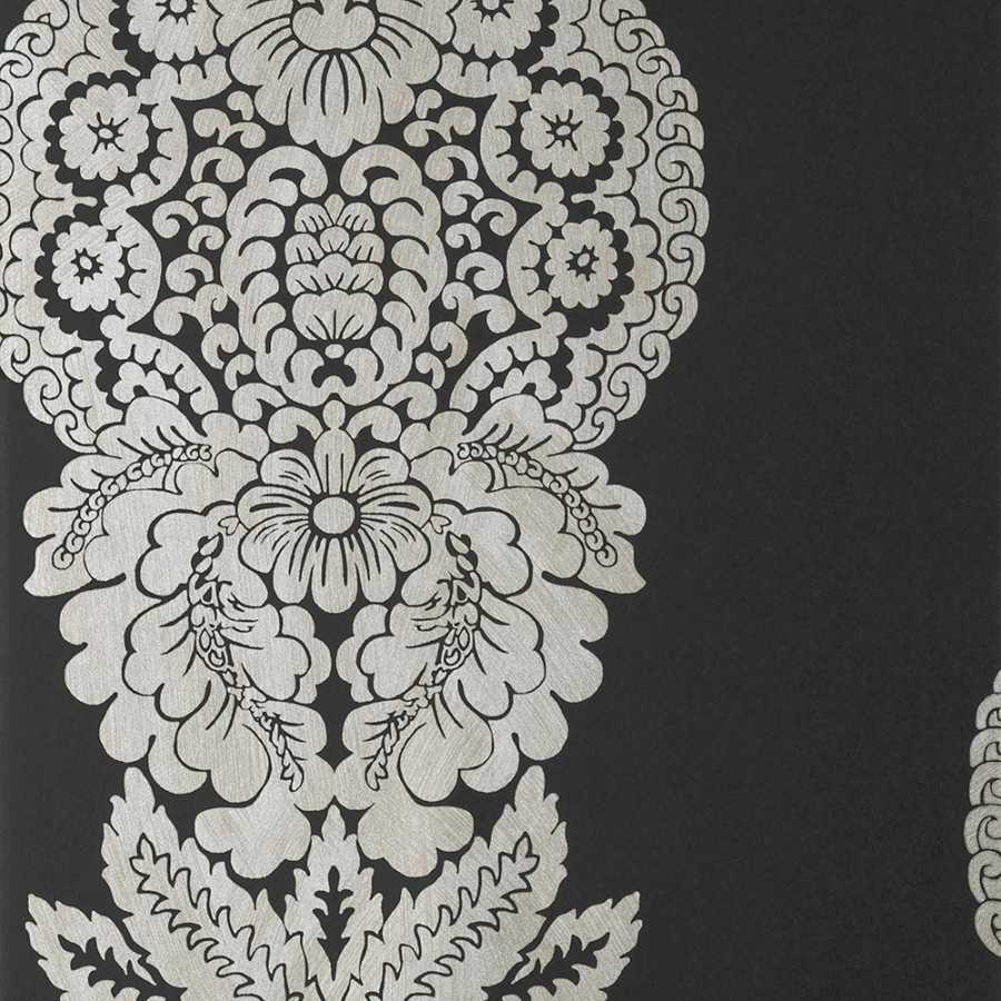 Thibaut Damask Resource 4 Rowan Damask T89132 Metallic Silver on Black Wallpaper