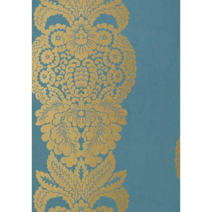Thibaut Damask Resource 4 Rowan Damask T89133 Metallic Gold on Peacock Wallpaper