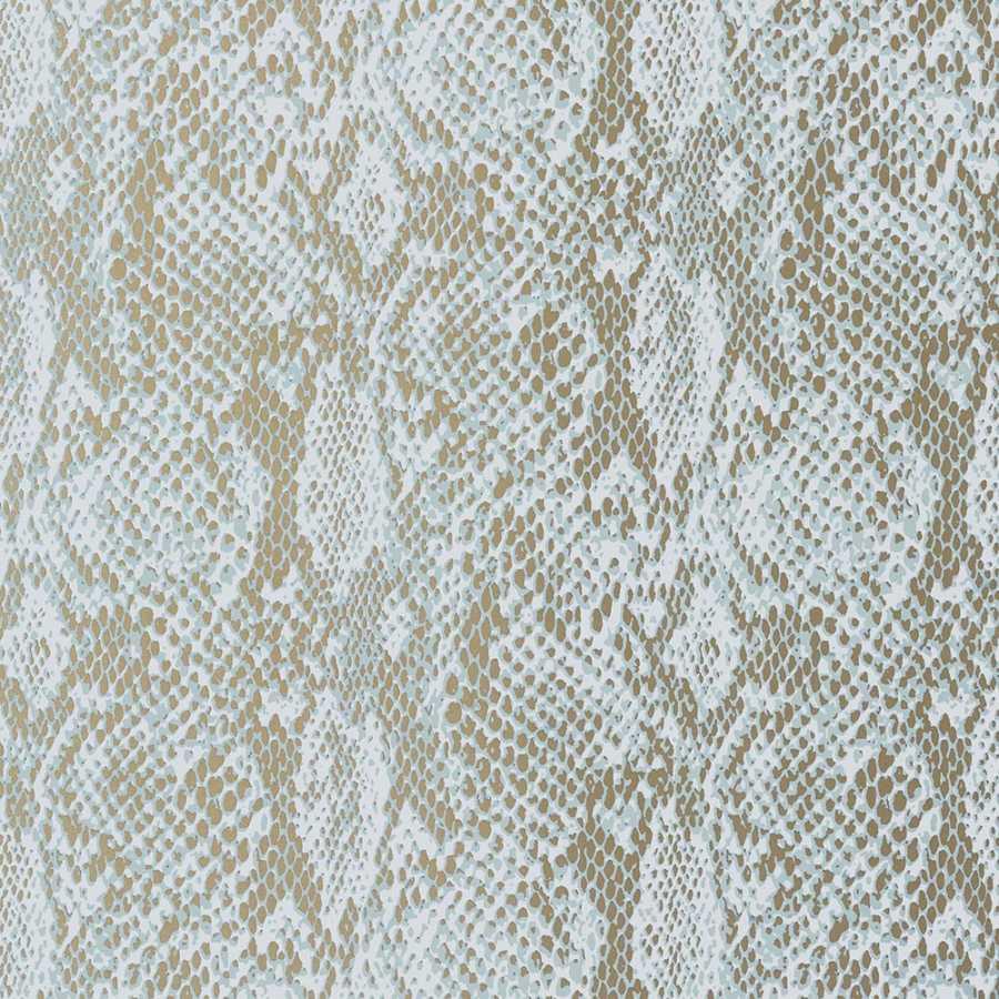 Thibaut Faux Resource Boa T75167 Aqua on Metallic Gold Wallpaper