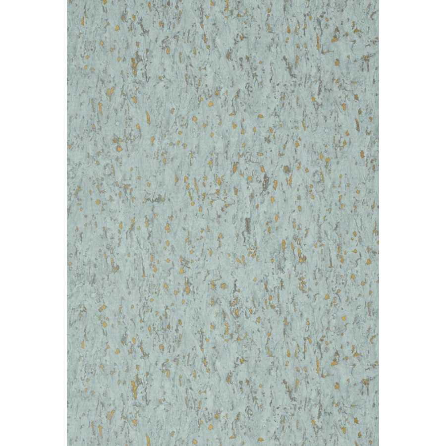 Thibaut Faux Resource Montado Cork T75107 Aqua on Metallic Gold Wallpaper