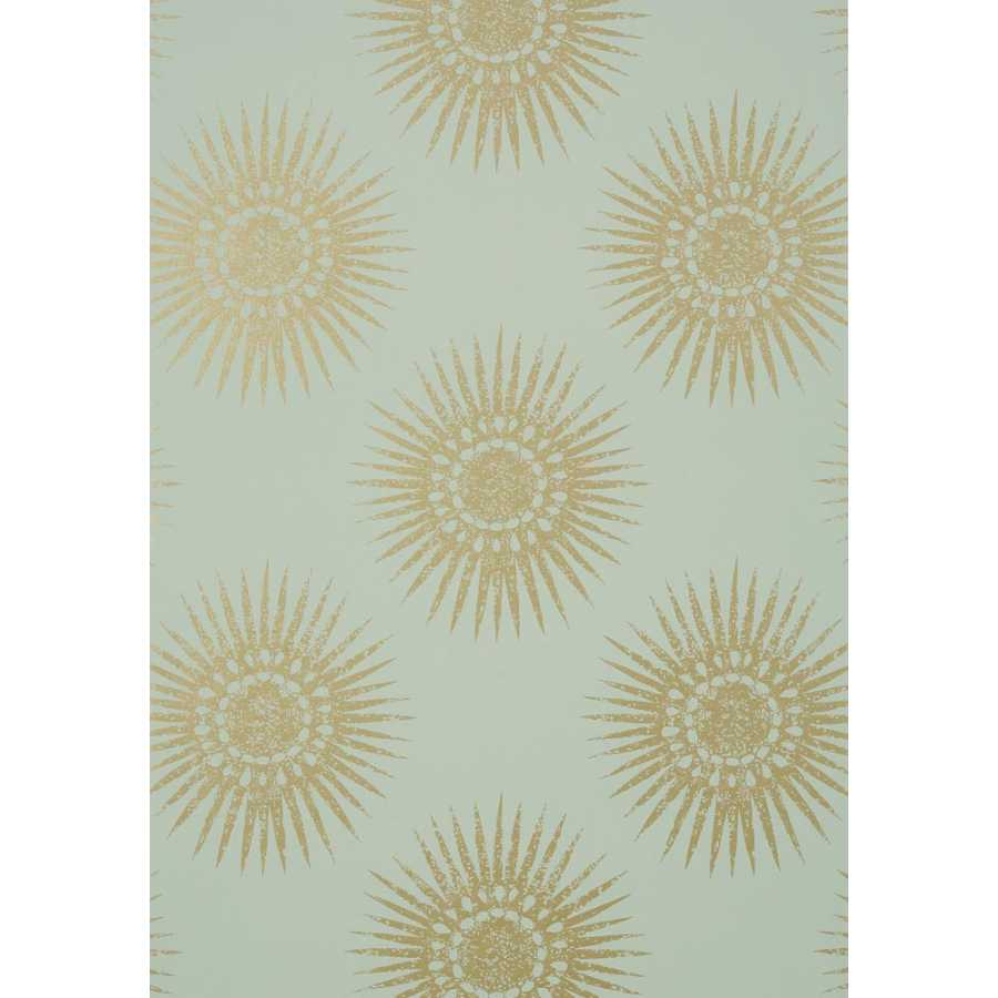 Thibaut Graphic Resource Bahia T35144 Metallic Gold on Aqua Wallpaper