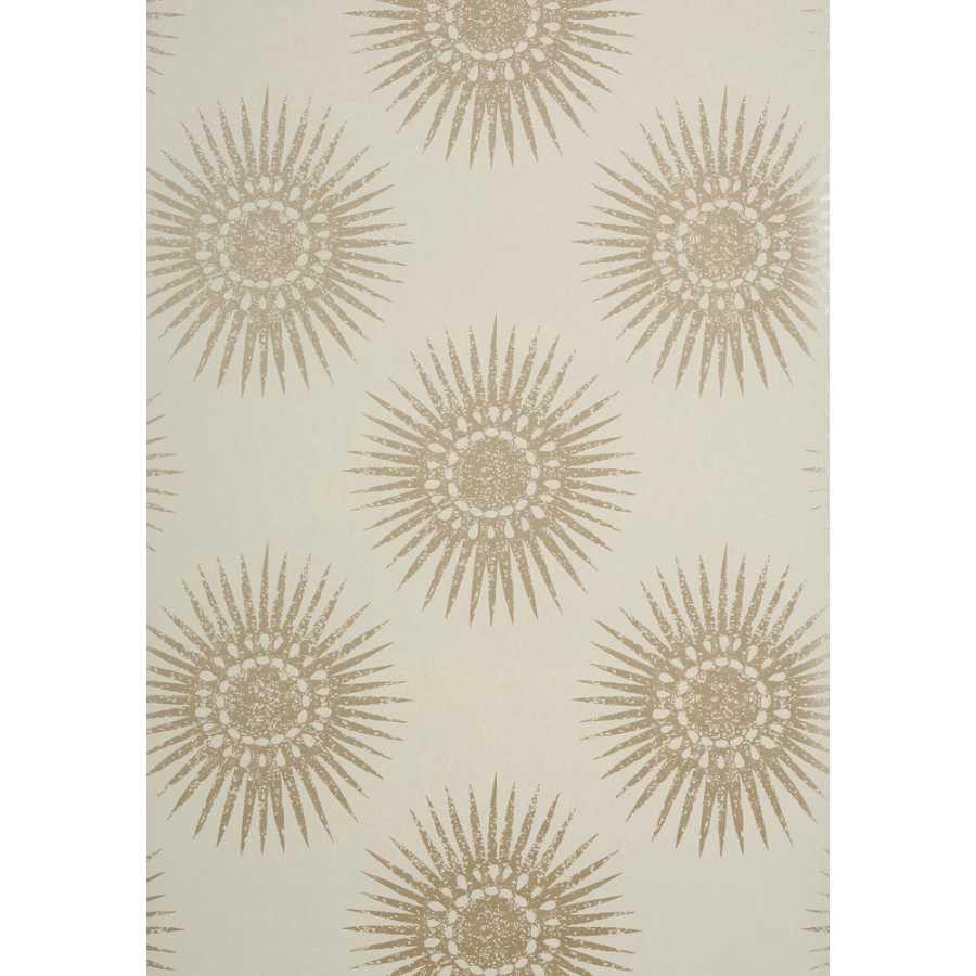 Thibaut Graphic Resource Bahia T35145 Metallic Pewter on Linen Wallpaper