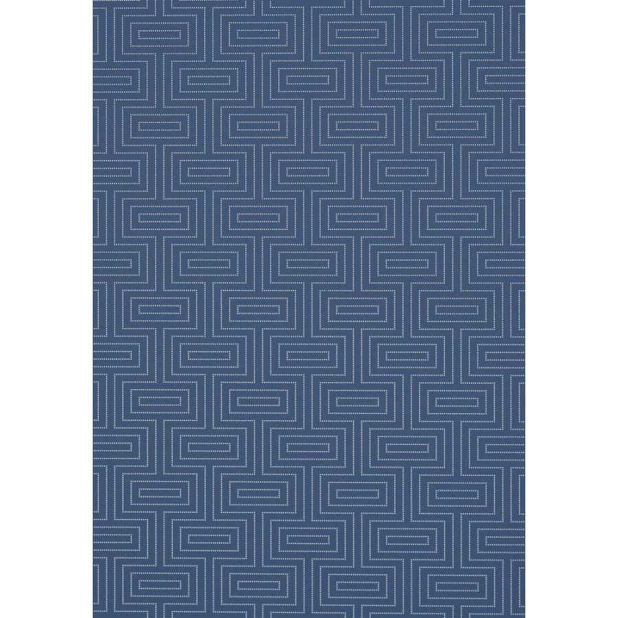 Thibaut Graphic Resource Broadway T35161 Metallic Silver on Navy Wallpaper