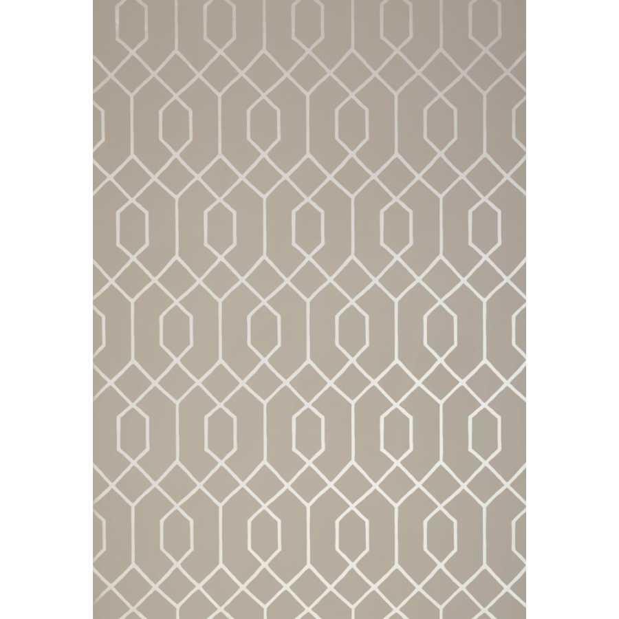 Thibaut Graphic Resource La Farge T35203 Metallic Pewter on Taupe Wallpaper